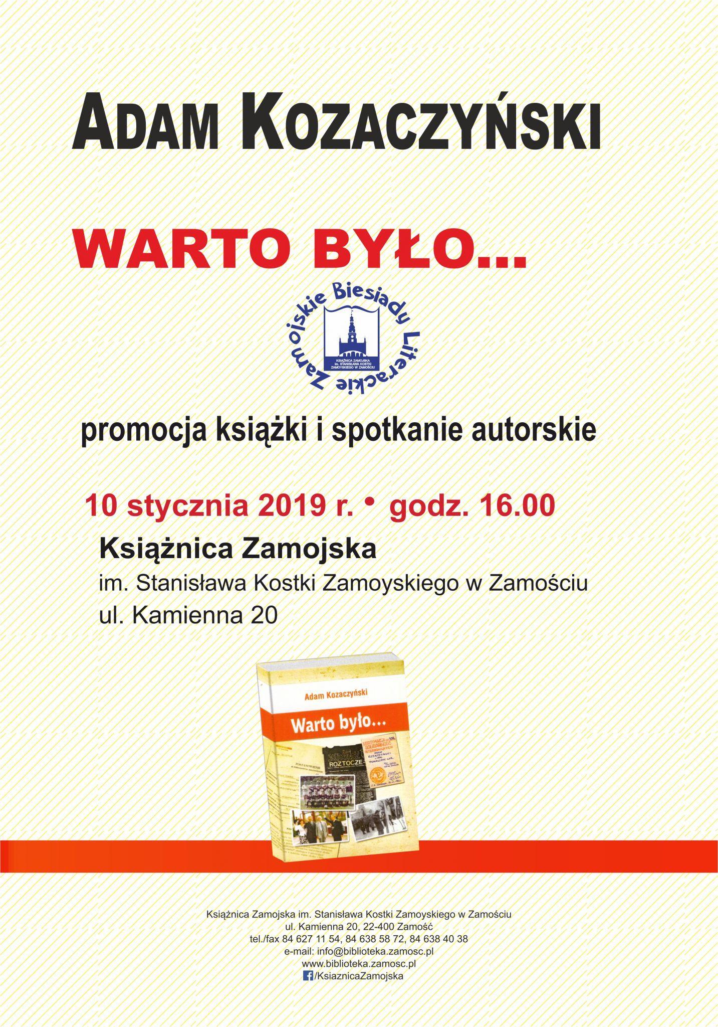 kozaczynski plakat 2019 Promocja książki Adama Kozaczyńskiego