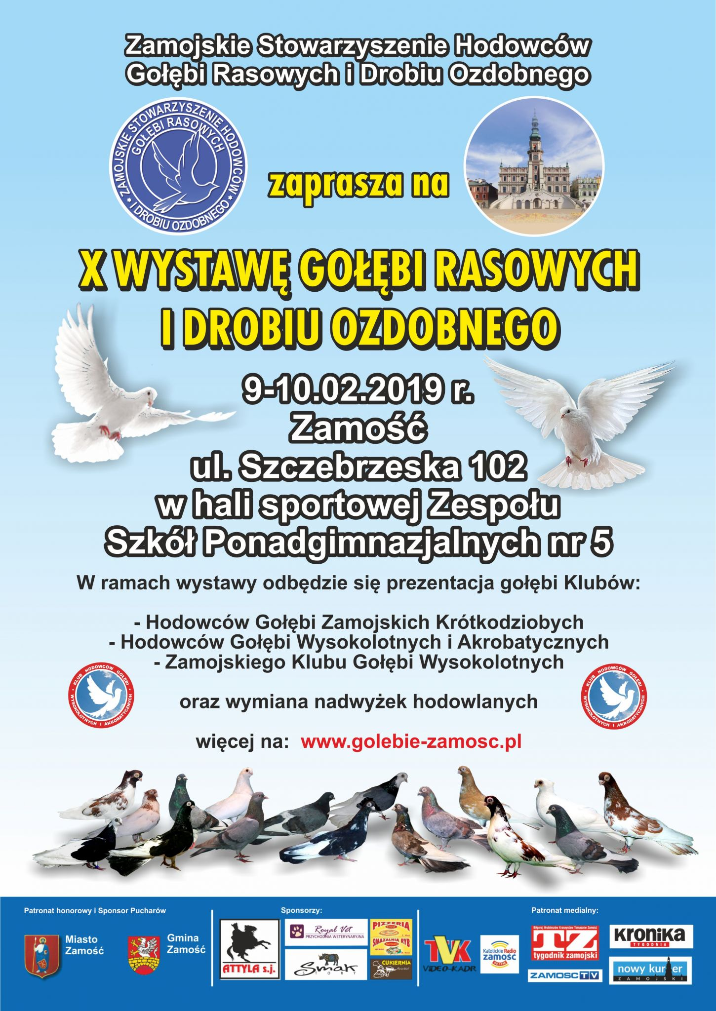 wasil plakat golebie WkrótceX Zamojska Wystawa Gołębi Rasowych i Drobiu Ozdobnego
