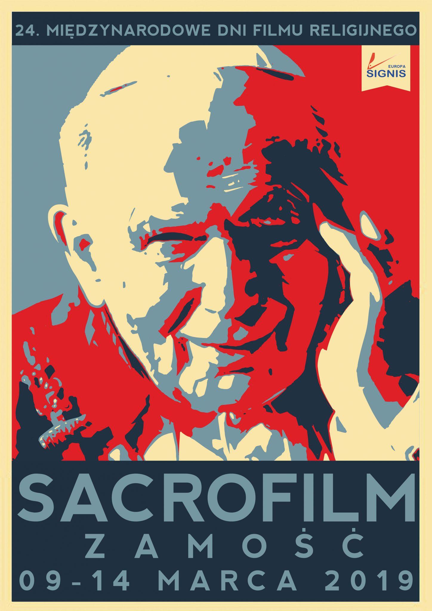 """plakat big 2019 Przed nami 24. edycja Międzynarodowych Dni Filmu Religijnego """"Sacrofilm""""."""