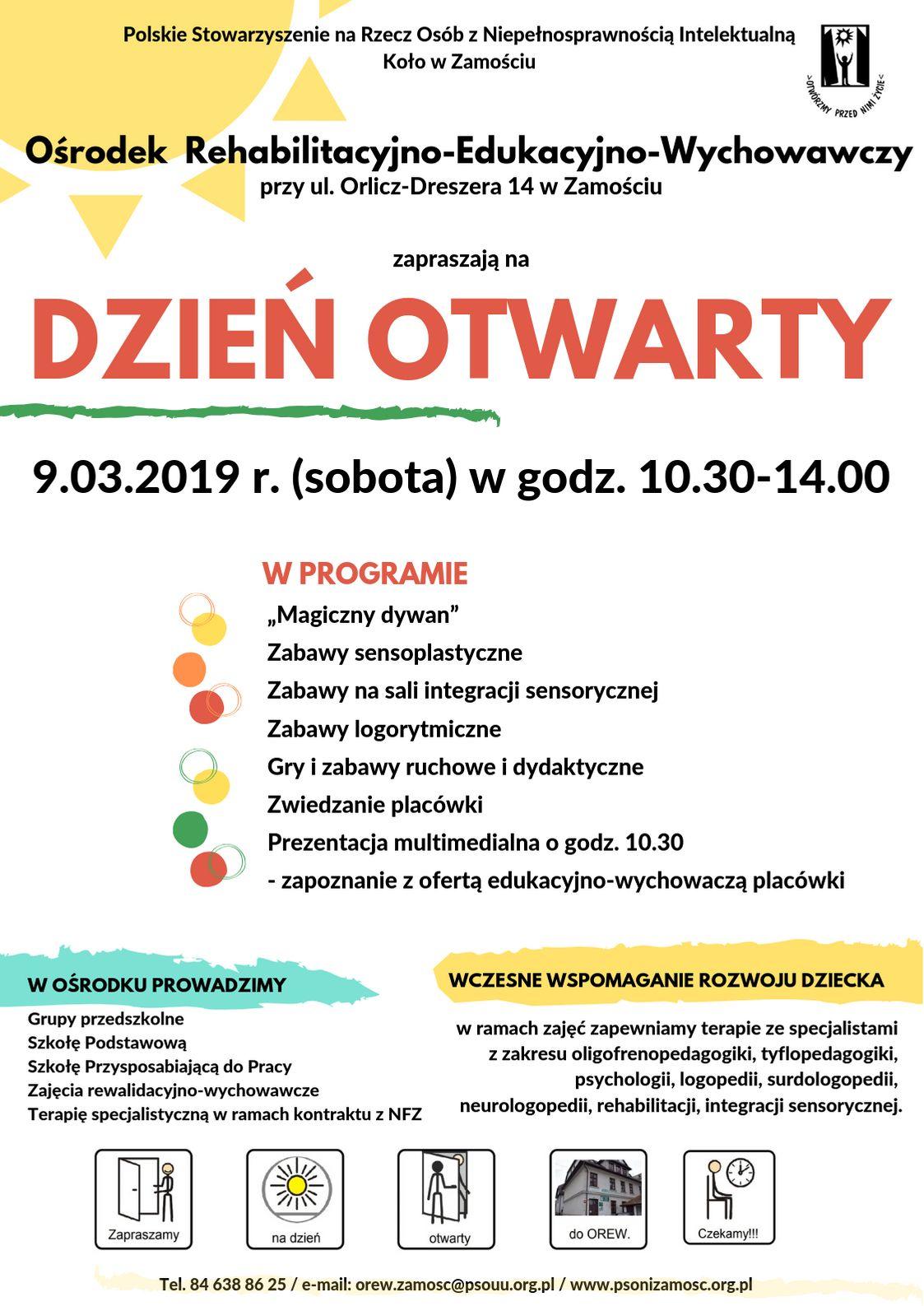 orew dzien otwarty plakat Dzień Otwarty Ośrodka Rehabilitacyjno-Edukacyjno- Wychowawczego w Zamościu