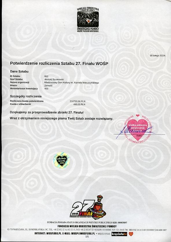 wosp zamosc scan Zamojski sztab WOŚP rozliczył tegoroczną zbiórkę