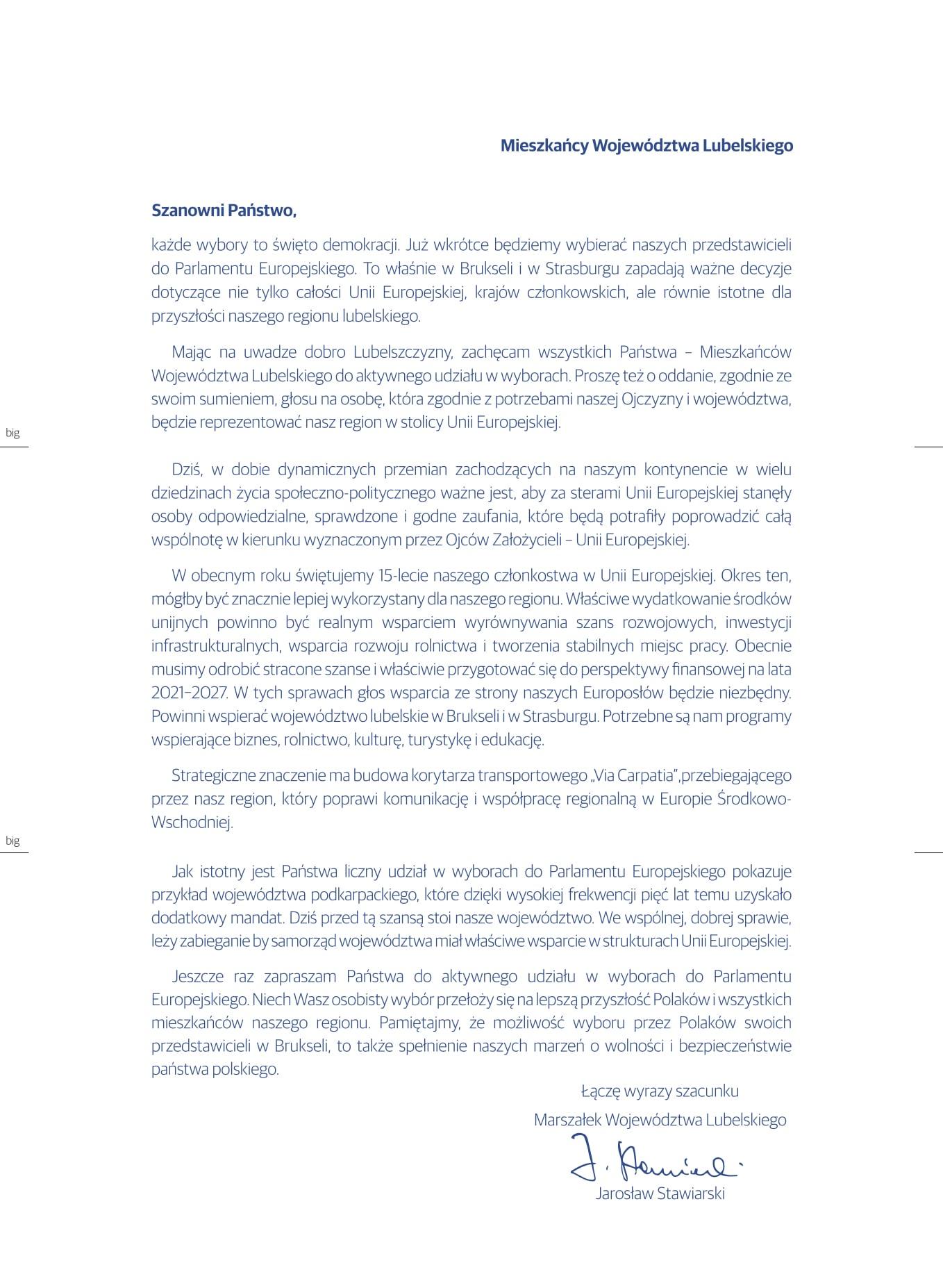 eurowybory list Władze Województwa Lubelskiego apelują o udział w wyborach do Parlamentu Europejskiego