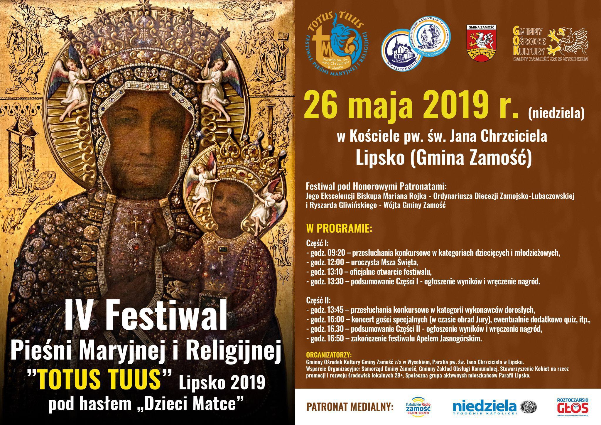 """plakat festiwal maryjny lipsko 2019 Przed nami IV Festiwal Pieśni Maryjnej i Religijnej """"TOTUS TUUS"""