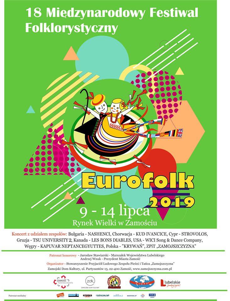 """65160076 2858457930836508 6622083630418100224 n Zamość: Już niebawem najbardziej roztańczone i rozśpiewane święto – Międzynarodowy Festiwal Folklorystyczny """"Eurofolk""""."""