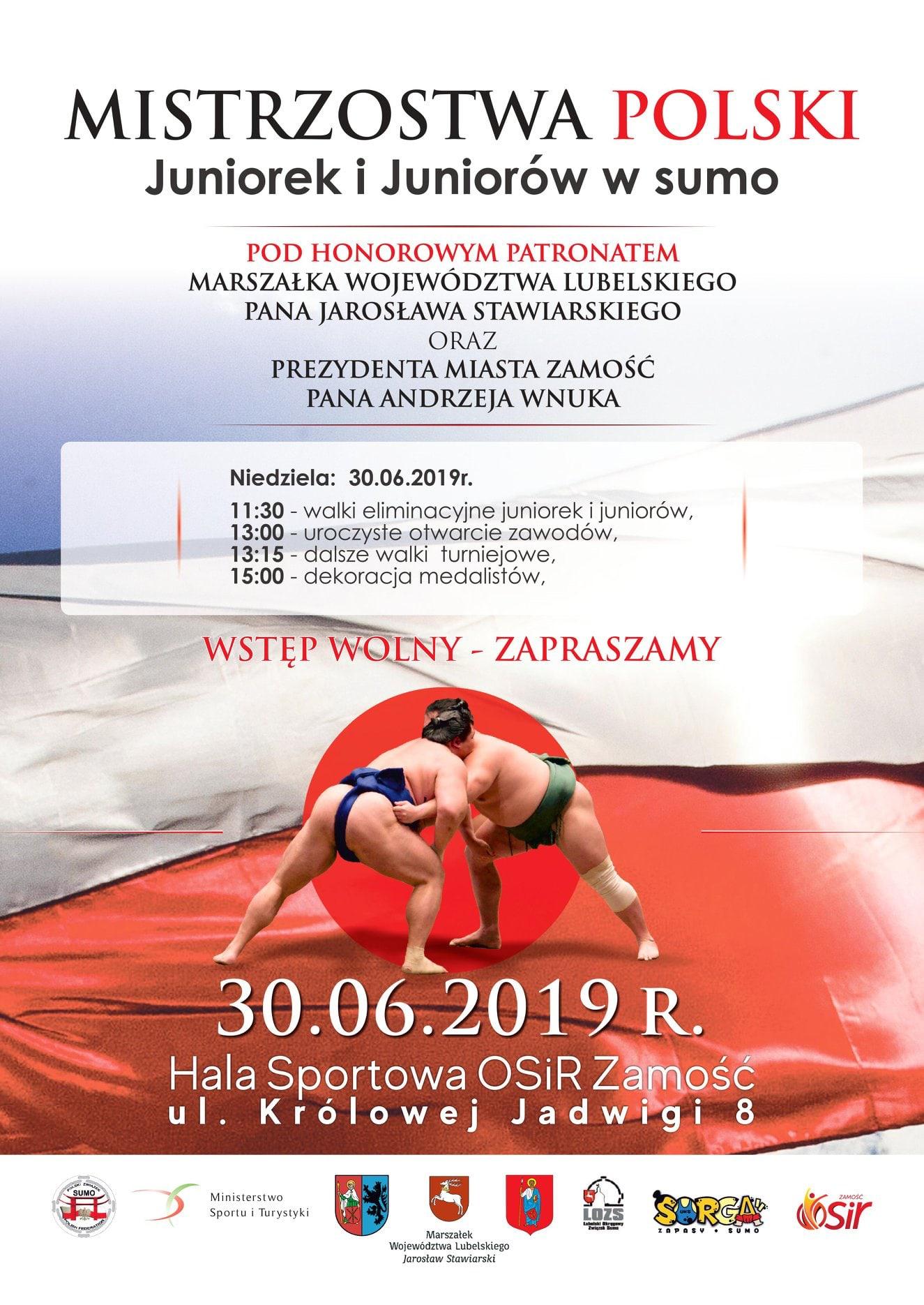 65482227 1840315869401209 5890527524542218240 o Już w tę niedzielę w Zamościu odbędą się Mistrzostwa Polski Juniorek i Juniorów w sumo