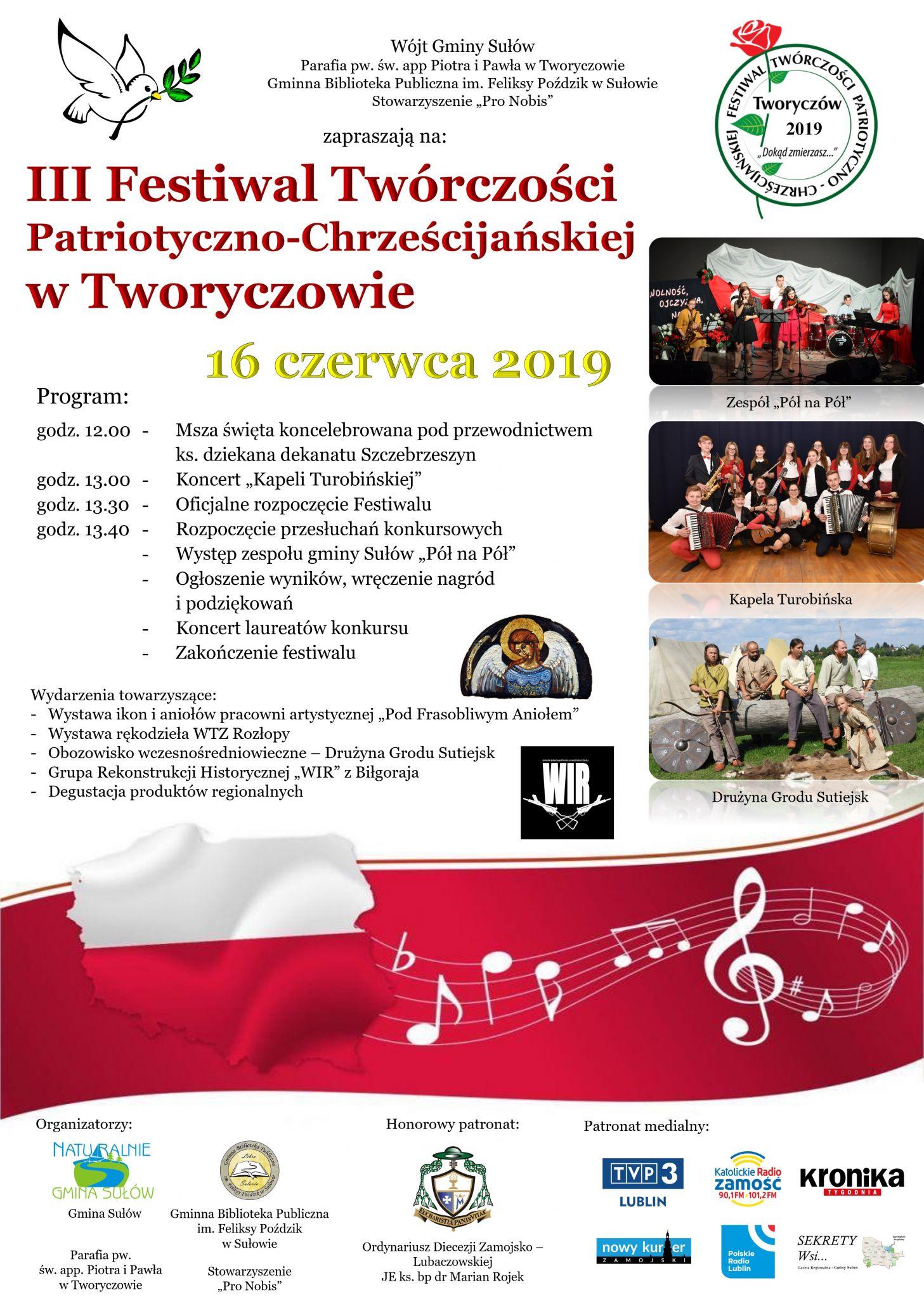 festiwal tworyczow 2019 Gm. Sułów: Zbliża się Festiwal Twórczości Patriotyczno - Chrześcijańskiej w Tworyczowie
