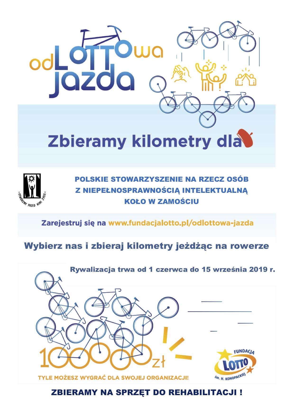 odlottowa jazda plakat 1 Jeździsz rowerem? Pobierz aplikację i zbieraj kilometry dla PSONI Koło w Zamościu
