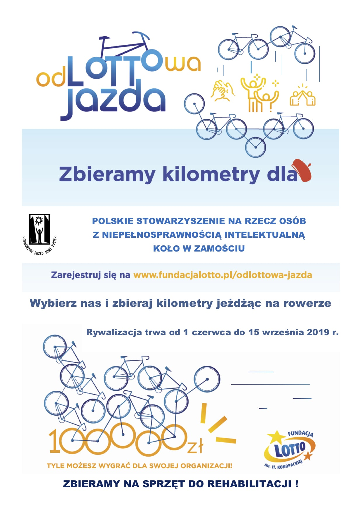 odlottowa jazda plakat odLOTTOwa JAZDA W ZAMOŚCIU - na rowerze zawalcz o lepsze jutro Osób z Niepełnosprawnością Intelektualną