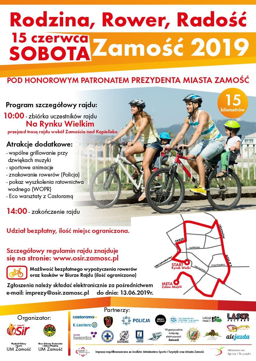 plakat rodzina rower radosc zamosc 2019 OSiR zaprasza na rodzinny wypad rowerowy