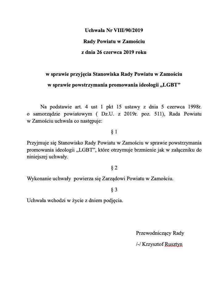 zrzut ekranu 2019 06 28 o 14 33 13 Radni Powiatu Zamojskiego przeciwni promowaniu ideologii LGBT. Przyjęli stanowisko w tej sprawie