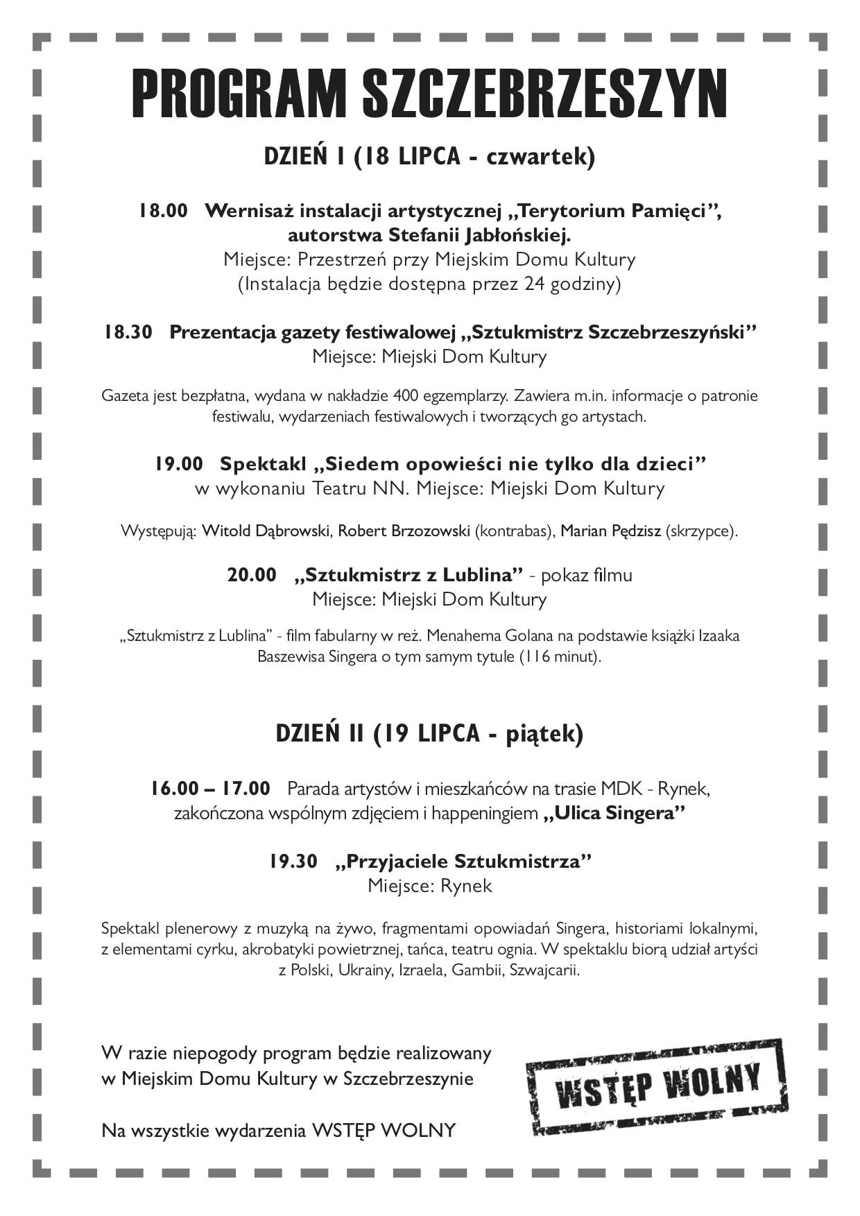 """06 program szczebrzeszyn 2019 Festiwal """"Śladami Singera"""" znów wyrusza w podróż po Lubelszczyźnie.Odwiedzi też Szczebrzeszyn i Krasnobród"""