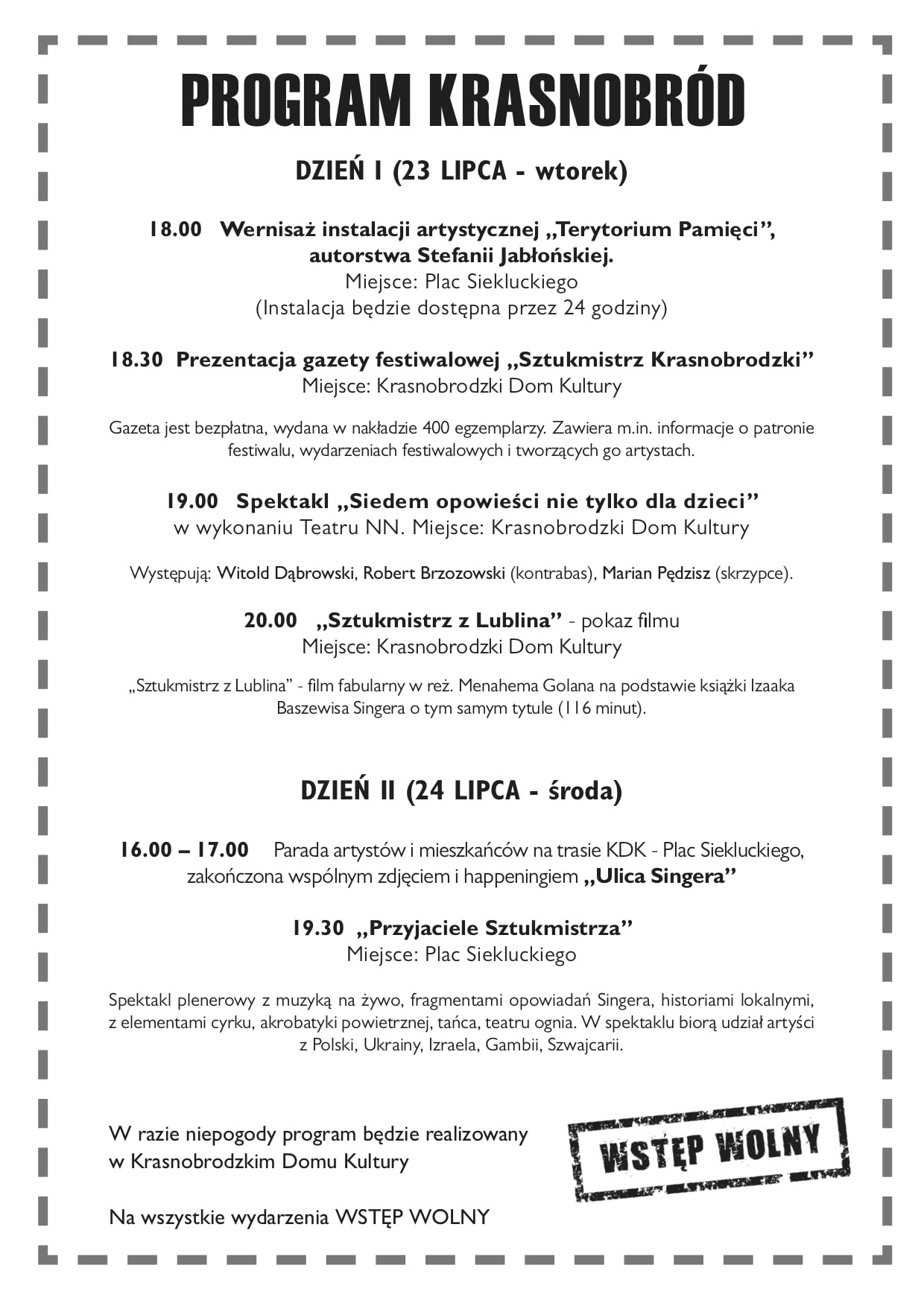"""11 program krasnobrod 2019 Festiwal """"Śladami Singera"""" znów wyrusza w podróż po Lubelszczyźnie.Odwiedzi też Szczebrzeszyn i Krasnobród"""