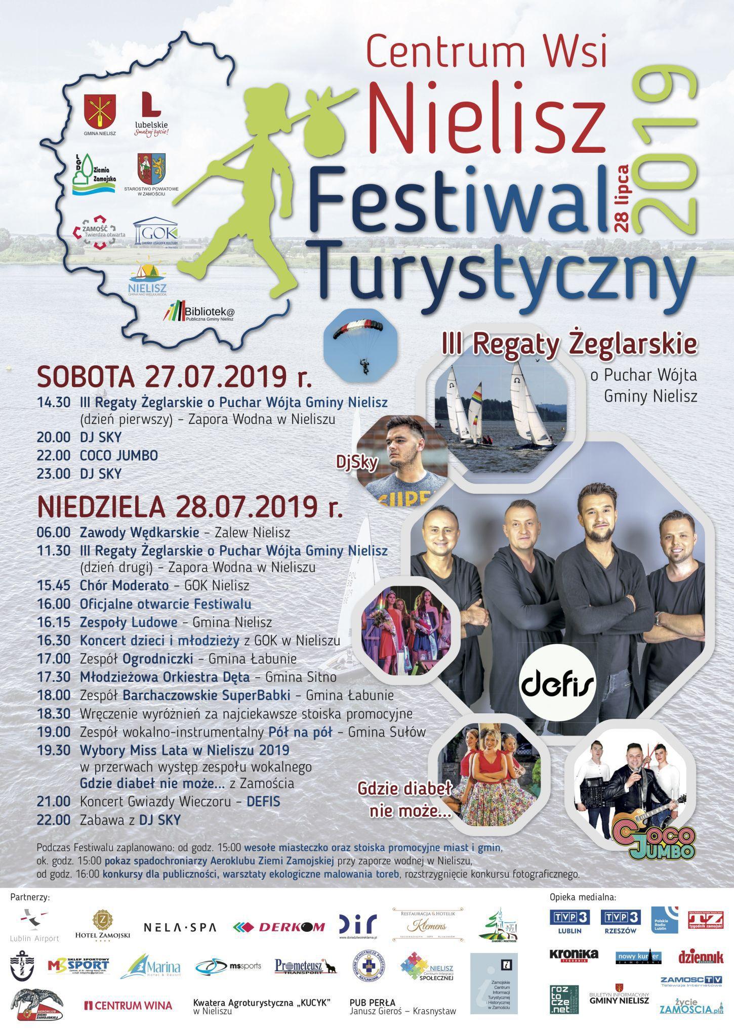 nielisz festiwal 2019 plakat a2 do druku final Regaty Żeglarskie i Festiwal Turystyczny. Duża impreza nad zalewem w Nieliszu. Gwiazdą będzie zespół DEFIS!