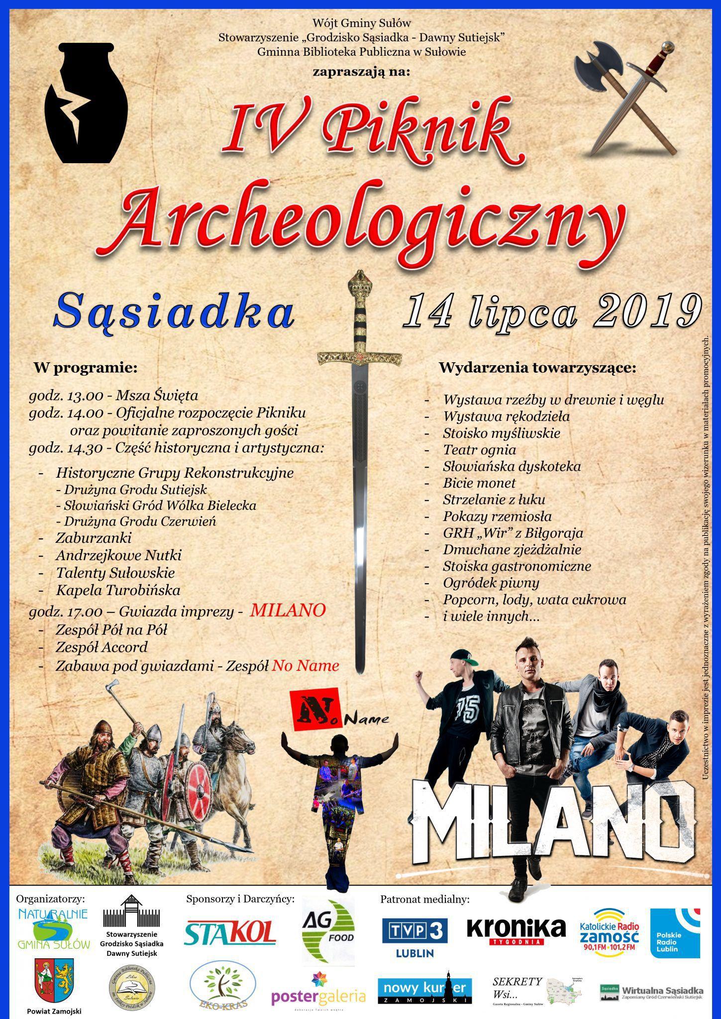 plakat sasiadka 2019 Gm. Sułów: Piknik Archeologiczny w Sąsiadce. Gwiazdą imprezy będzie zespół Milano