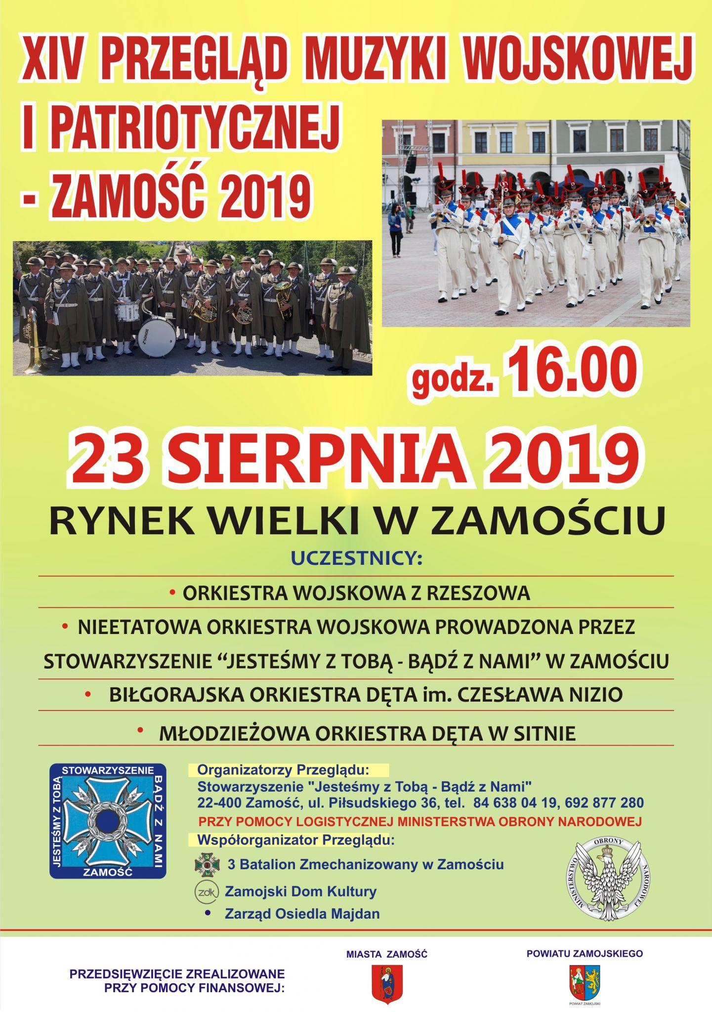 2019 plakat orkiestra Zamość: Przed nami XVI Przegląd Muzyki Wojskowej i Patriotycznej