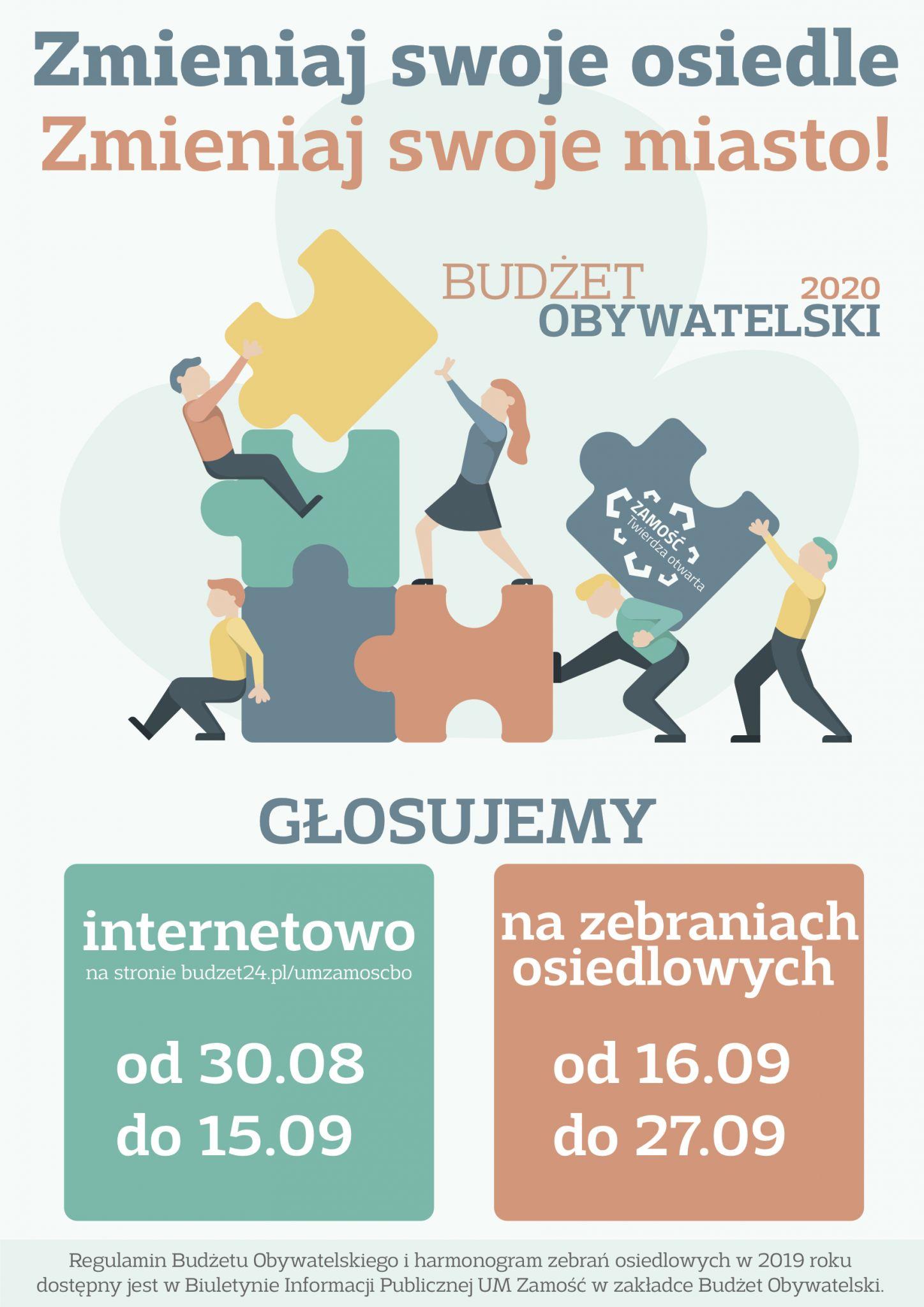 9081 plakat glosowanie bo 2020 Rusza głosowanie internetowe na projekty do Budżetu Obywatelskiego Zamościa