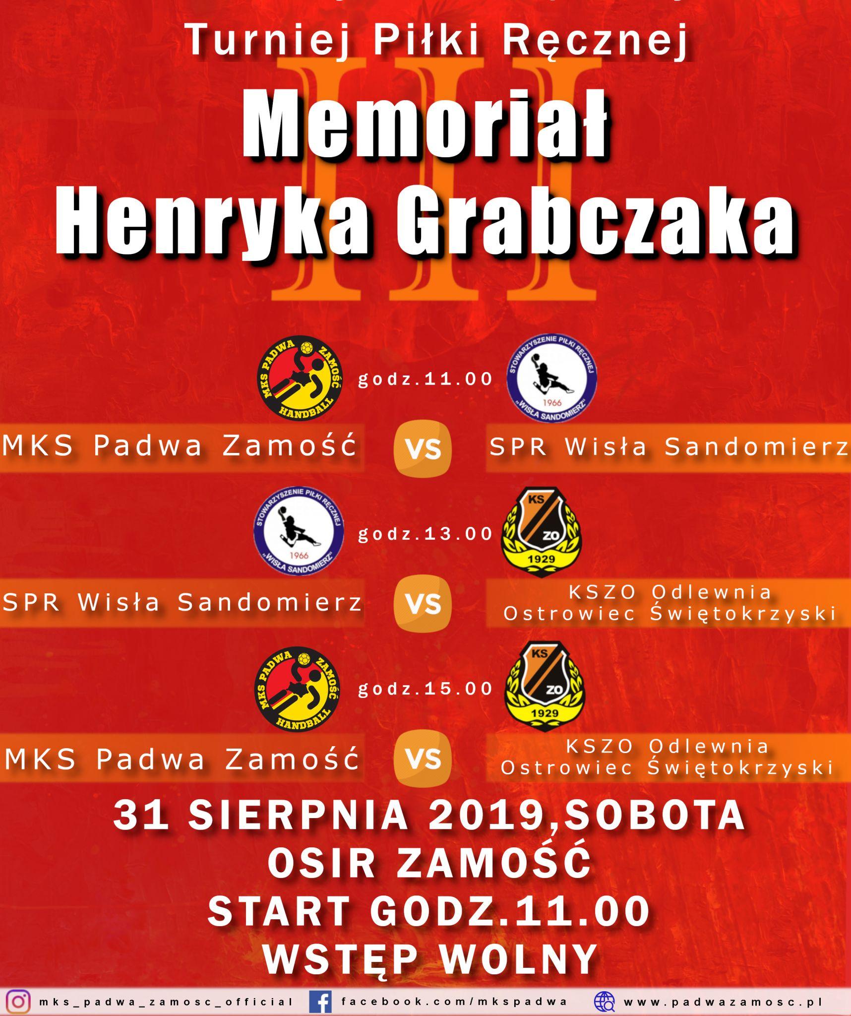 memorial MEMORIAŁ Henryka Grabczaka już 31 sierpnia w Zamościu.
