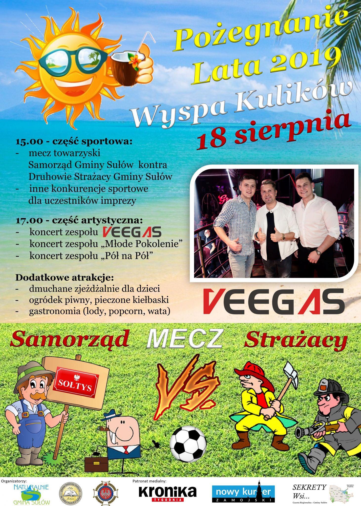 plakat kulikow Gm. Sułów: Impreza na pożegnanie lata w Kulikowie. Wystąpi zespół Veegas