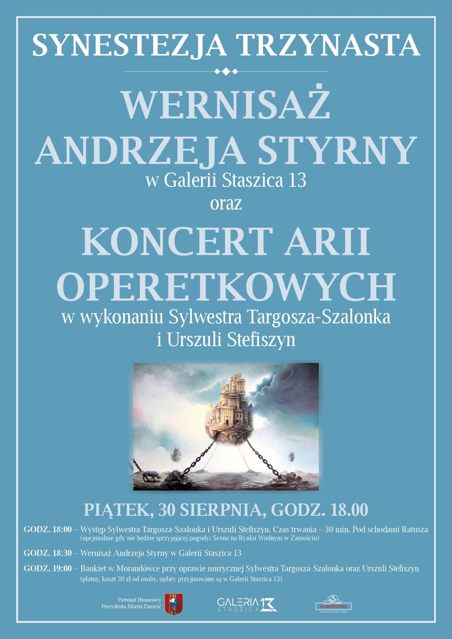 styrna plakat Zamość: Wernisaż Andrzeja Styrny oraz Koncert Arii Operetkowych