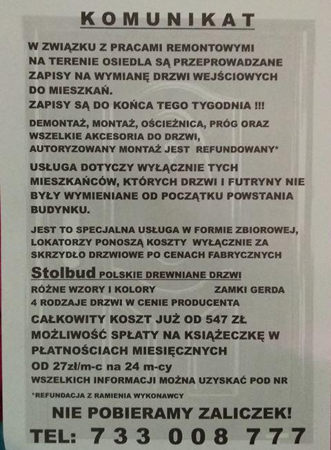 70202929 2420490251401607 6127229348387749888 n Zamość: Uwaga na oszustów oferujących wymianę drzwi!