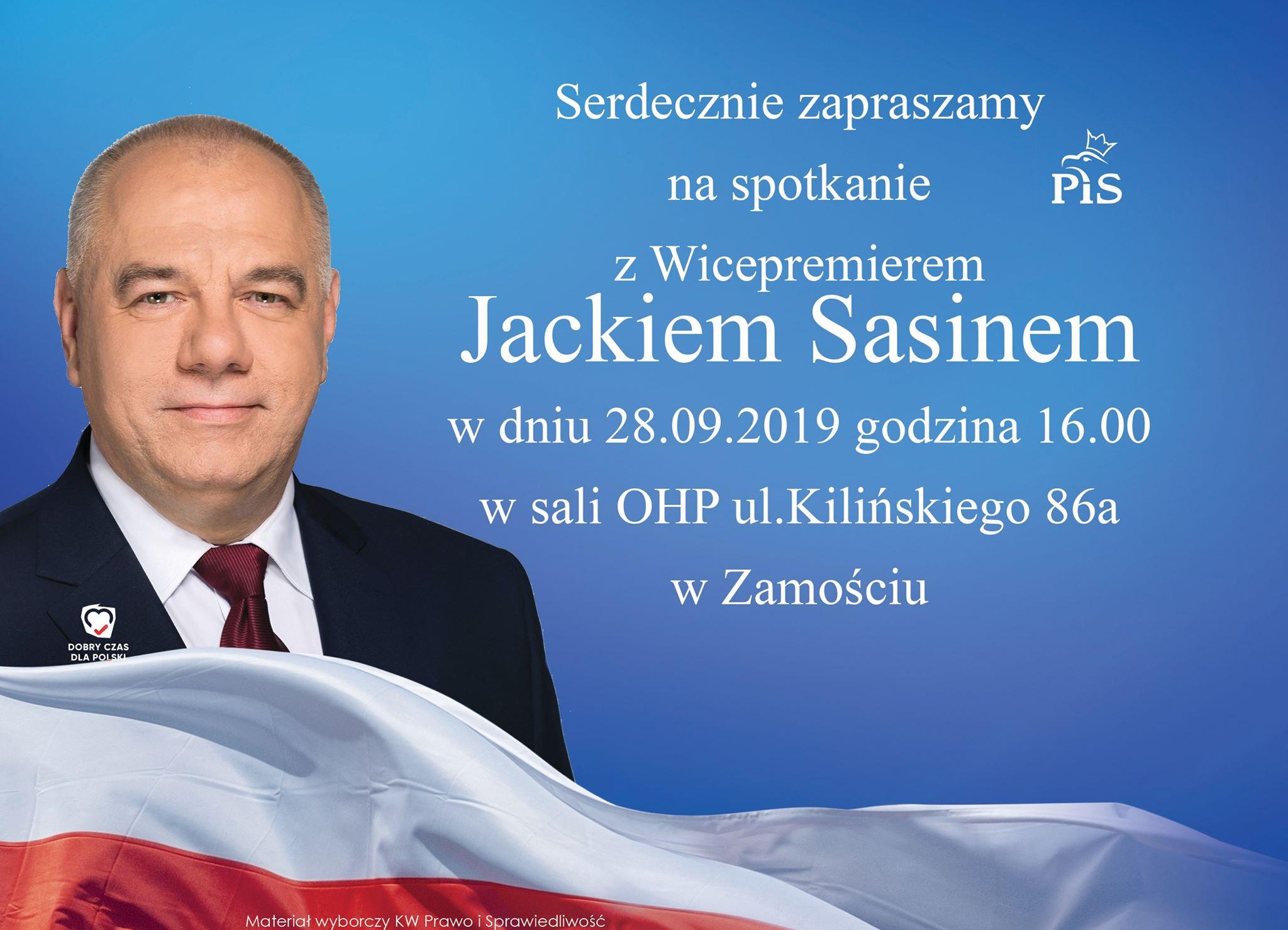 71047886 504621116993294 8701828321240940544 n Zamość: Spotkanie wyborcze z Jackiem Sasinem
