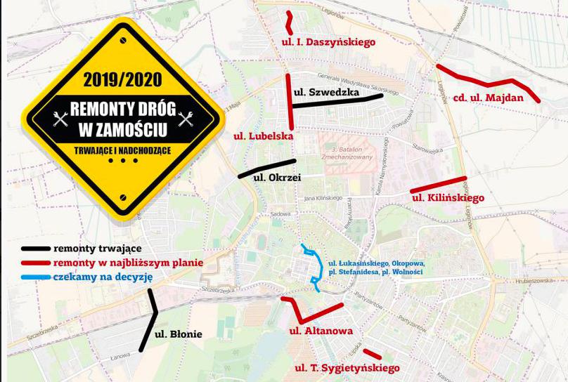 mapa remontow Które zamojskie ulice będą remontowane?
