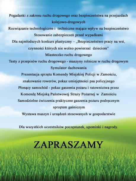 plakat druga strona MOKRE: Impreza poświecona bezpieczeństwu na wsi. W programie wiele atrakcji