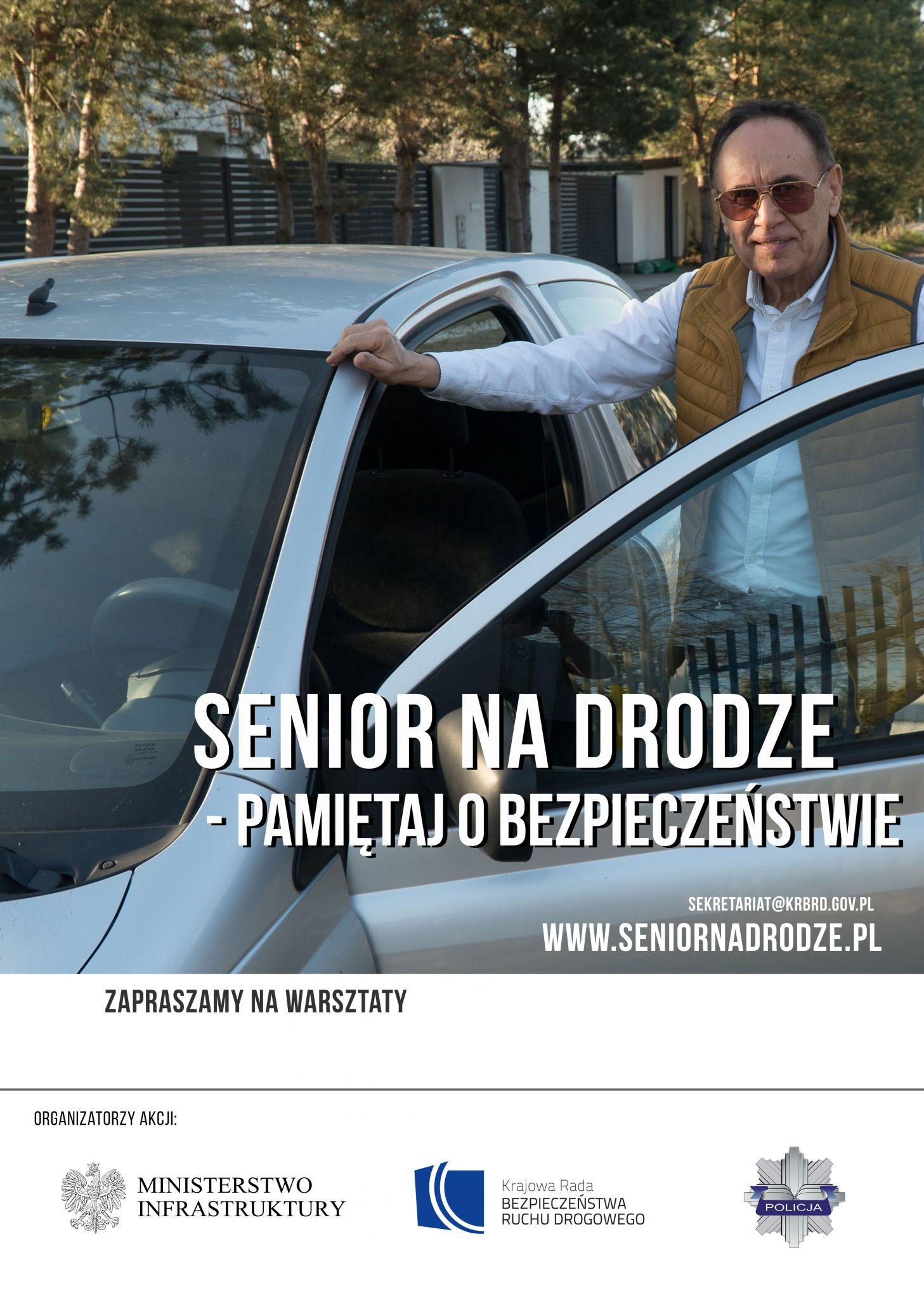 plakat kierowca senior Zamojski WORD zaprasza na Drogową Sztafetę Pokoleń