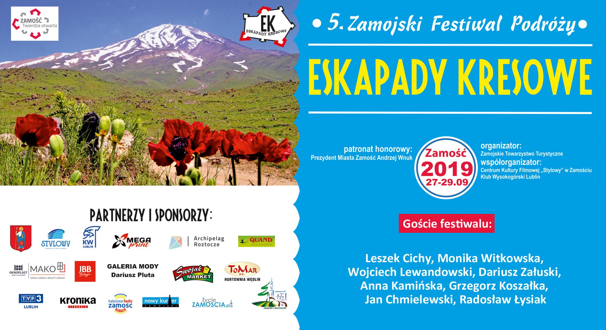 """plansza Przed nami 5. Zamojski Festiwal Podróży """"Eskapady Kresowe"""" [PROGRAM]"""