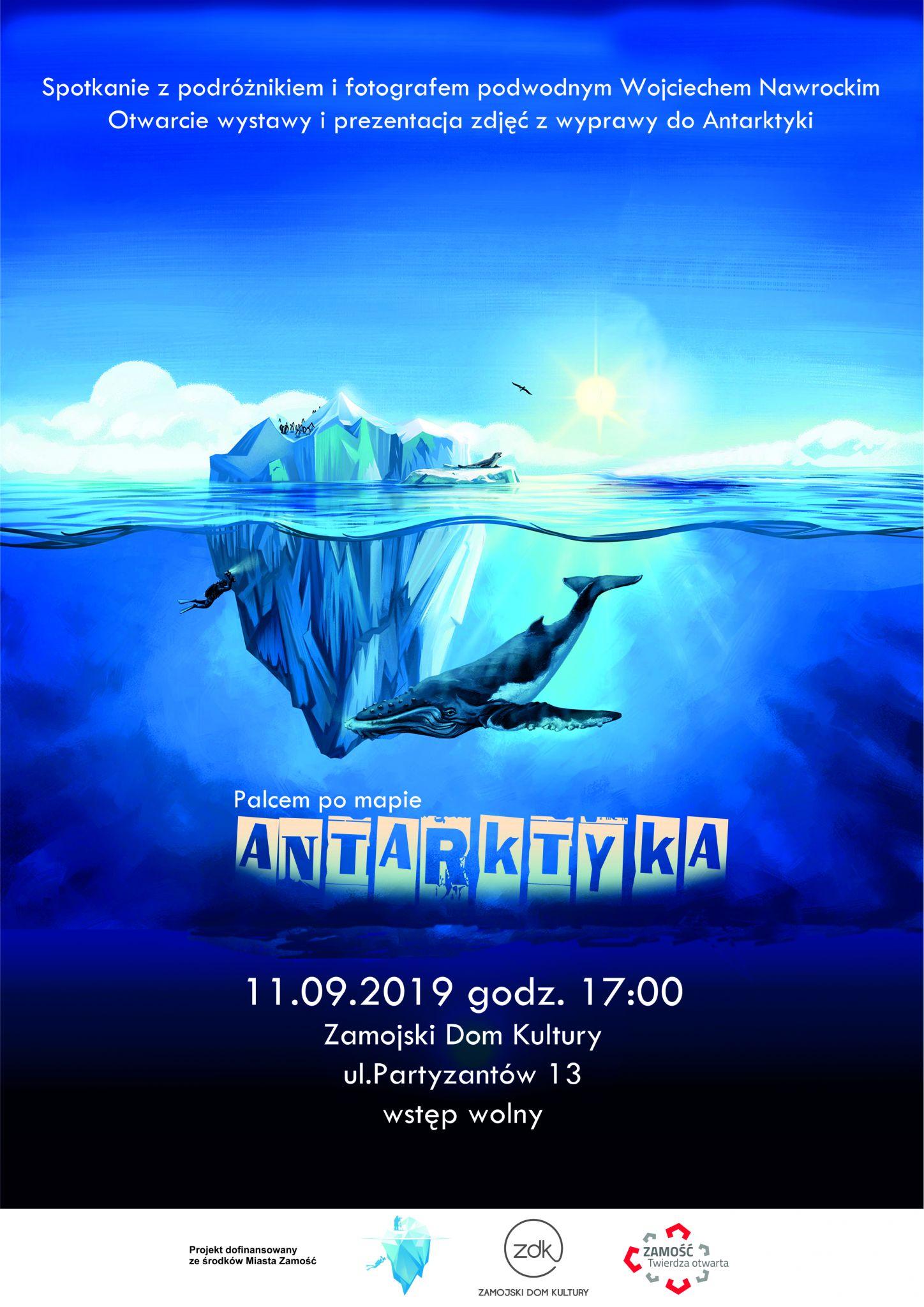 projekt plakatu Zamość: Podróż palcem po mapie. Antarktyka
