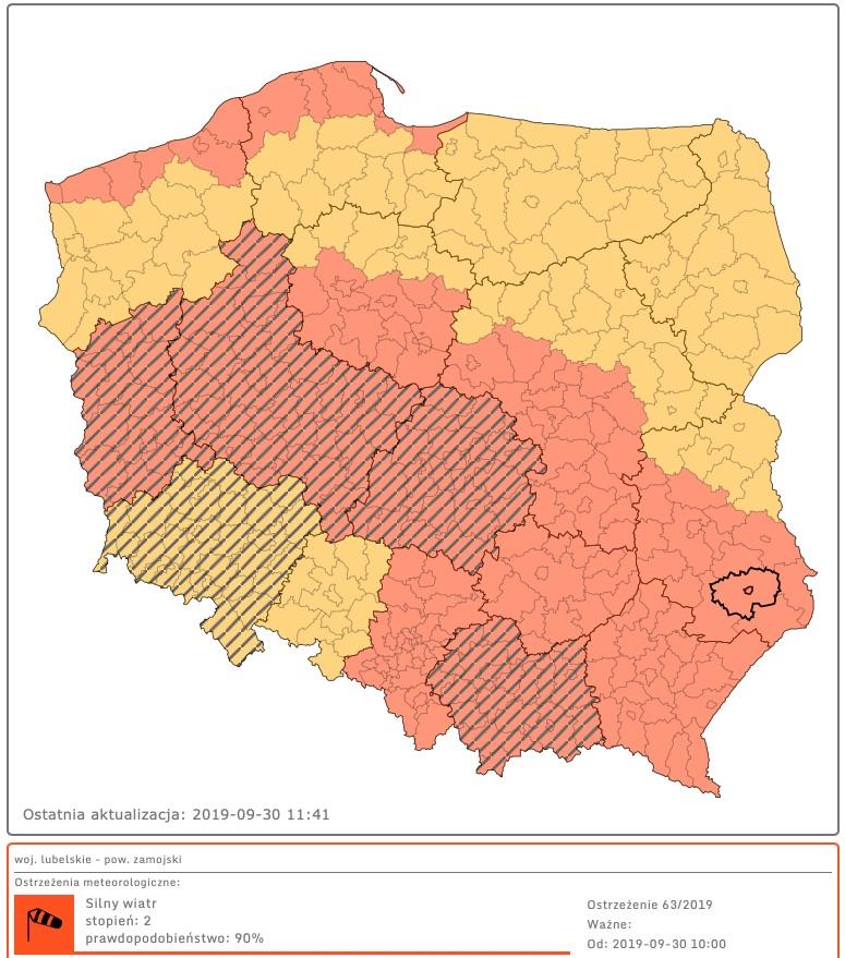 zrzut ekranu 2019 09 30 o 11 42 41 Ostrzeżenie II stopnia dla woj. lubelskiego: Przewidywany bardzo silny wiatr, nawet do 100 km/h!