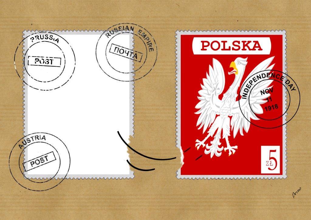 bernard bouton francheville francja Niepodległość Polski w rysunku satyrycznym.