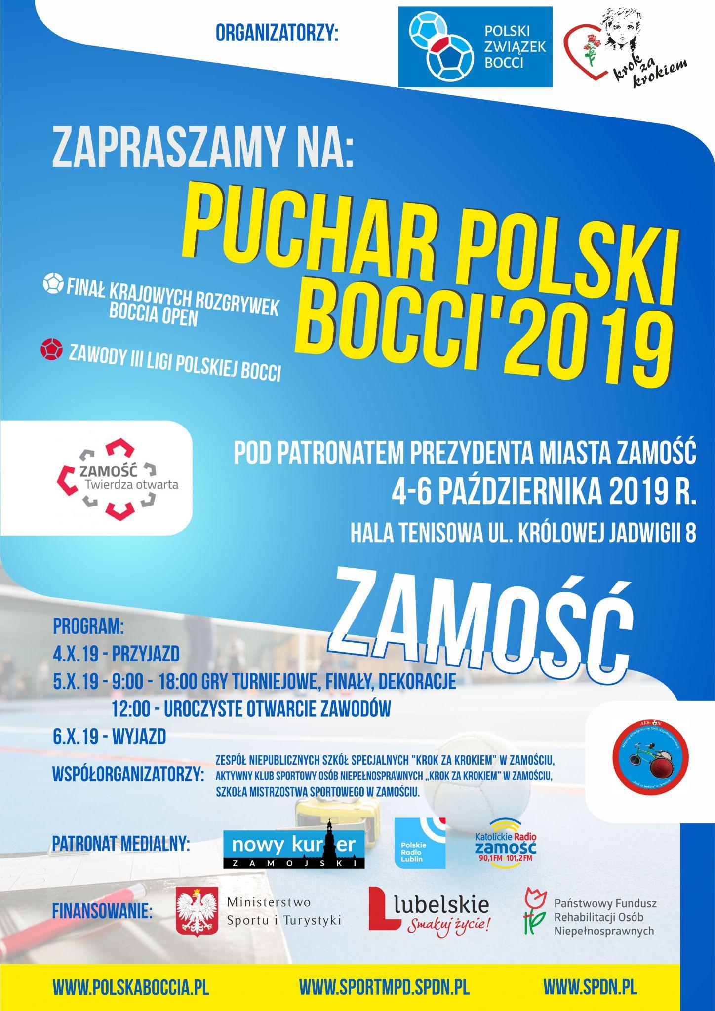 plakat boccia patronaty W Zamościu rozegrany zostanie Puchar Polski Boccia.