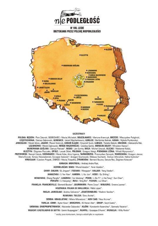 uczestnicy ms 2018 Niepodległość Polski w rysunku satyrycznym.