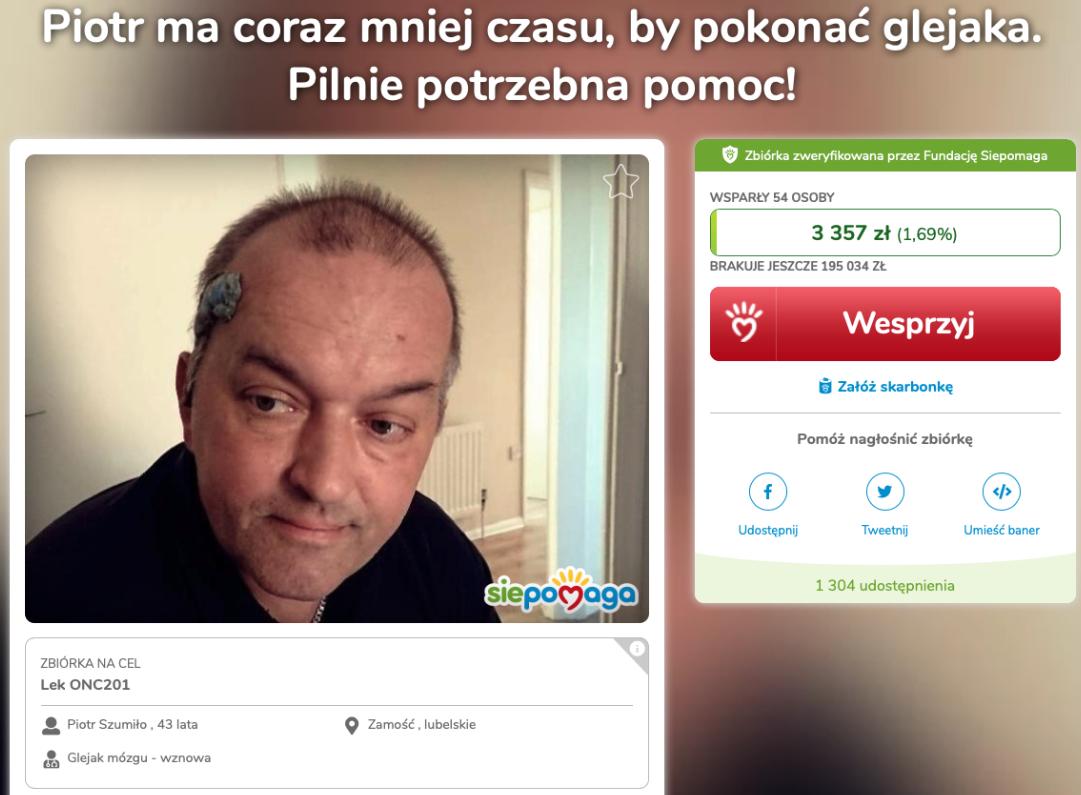 zrzut ekranu 2019 10 30 o 09 01 17 Piotr ma coraz mniej czasu, by pokonać glejaka. Żona prosi o pomoc!