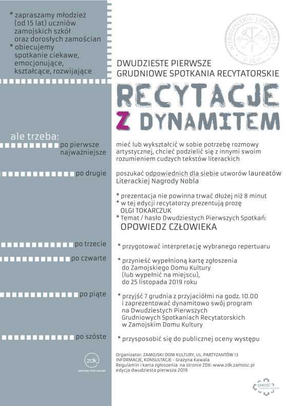 19 dynamit afisz Recytacje z Dynamitem. ZDK zaprasza młodzież do udziału w konkursie