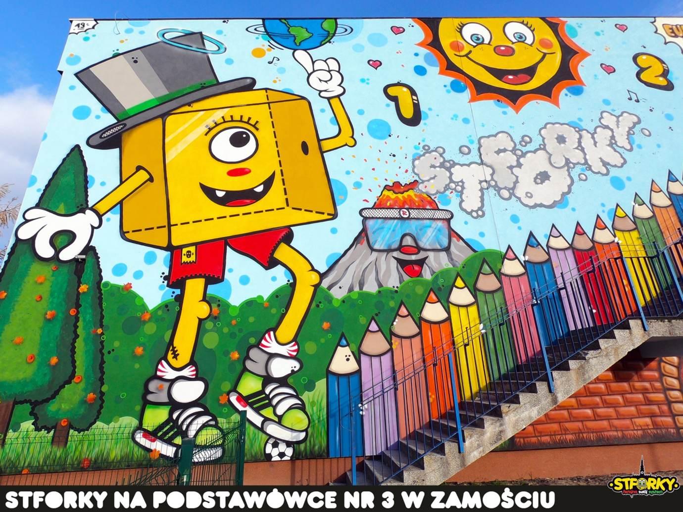 73372333 2905044846195168 4421400687833776128 o Zamość: Na ścianie SP nr 3 powstał największy w naszym mieście mural