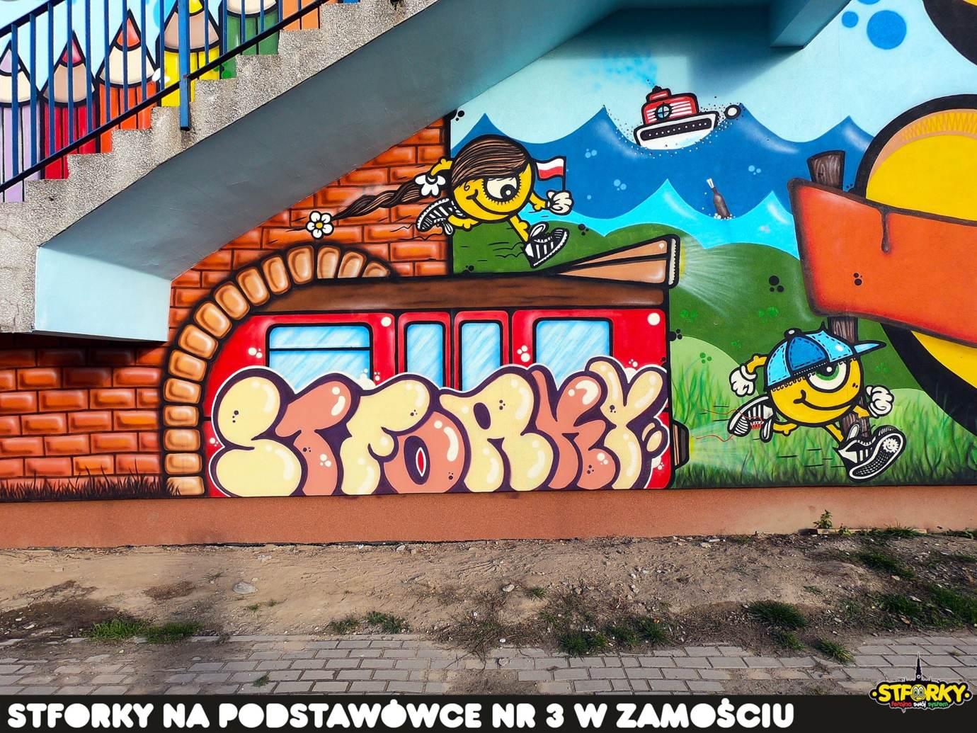 74209895 2905043732861946 6458955257778012160 o Zamość: Na ścianie SP nr 3 powstał największy w naszym mieście mural