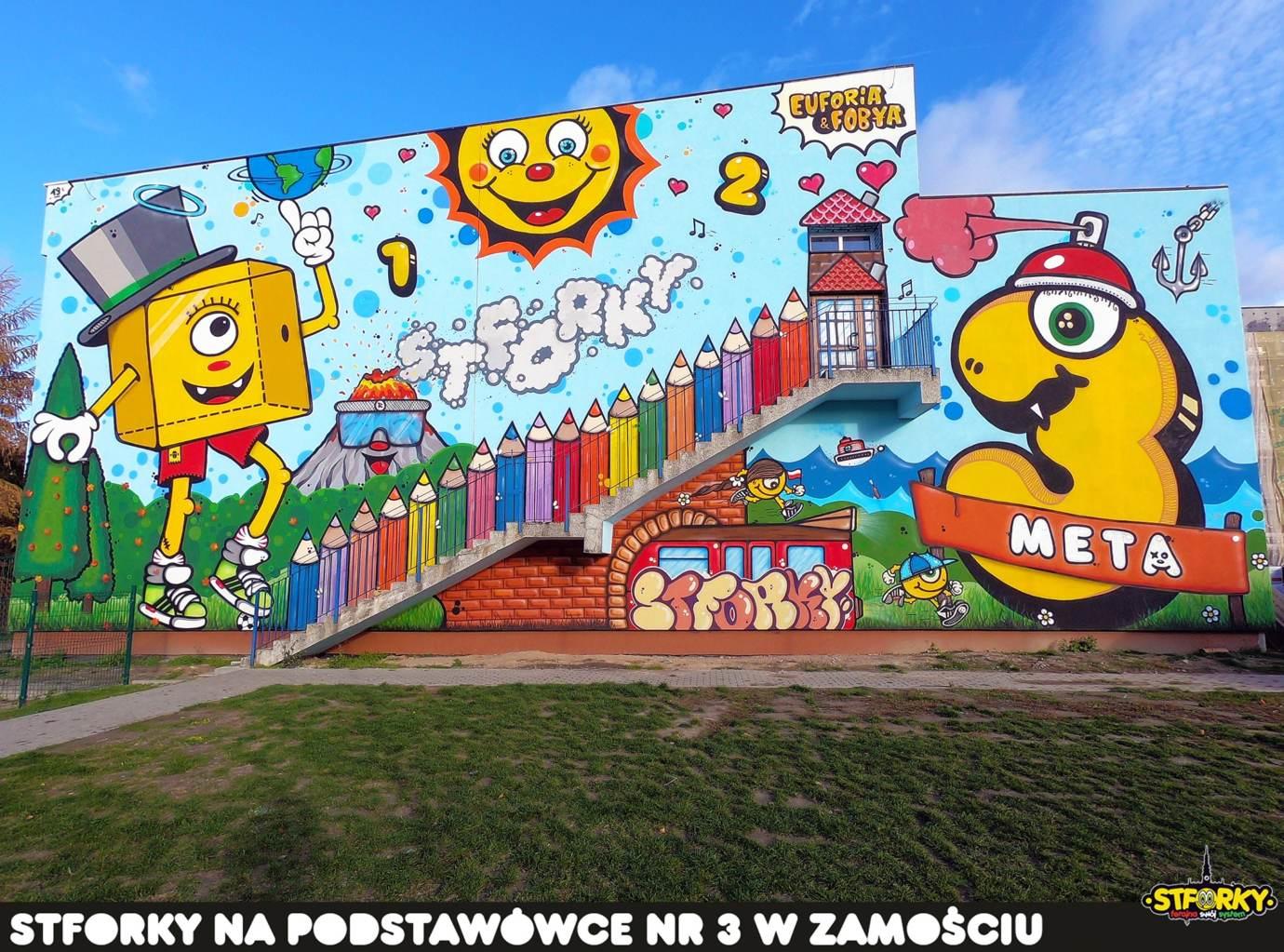 76751647 2905043609528625 804883485520035840 o Zamość: Na ścianie SP nr 3 powstał największy w naszym mieście mural
