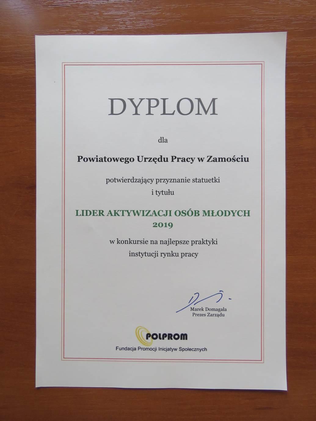 dyplom lidera aktywizacji osob mlodych Nagroda dla PUP Zamość