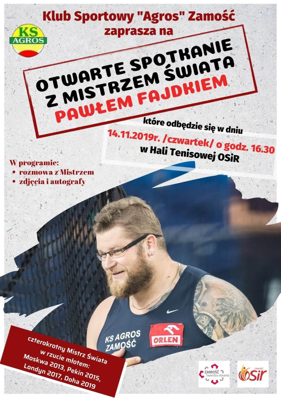 fajdek plakat Zamość: Otwarte spotkanie z mistrzem świata Pawłem Fajdkiem