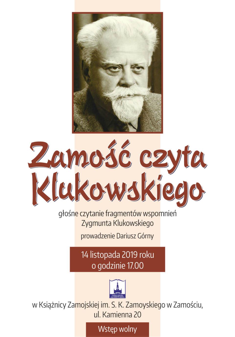 klukowski plakat Zamość czyta Klukowskiego