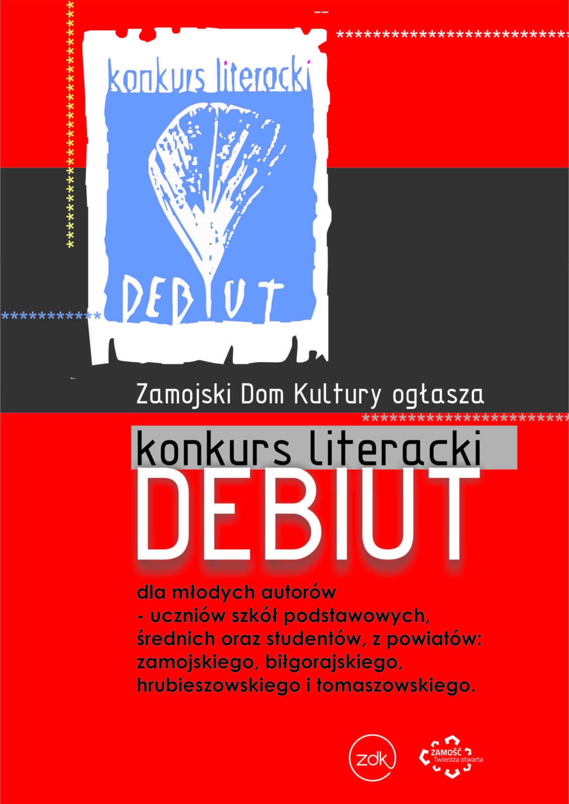19 debiut plakat mediaimageoptim scaled 1 Literacki debiut - konkurs w ZDK-u
