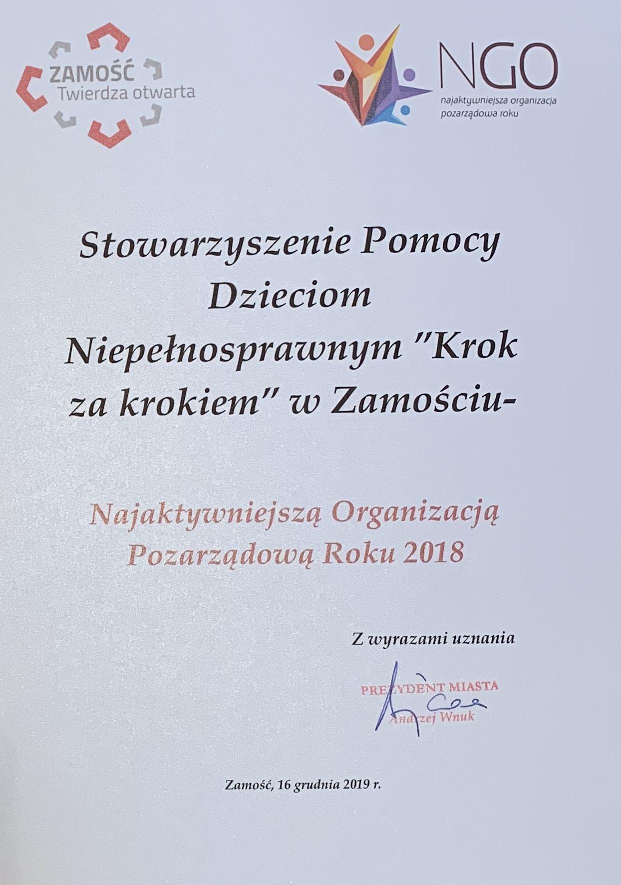 dyplom najaktywniejsza ngo 2018 Nagroda dla Stowarzyszenia