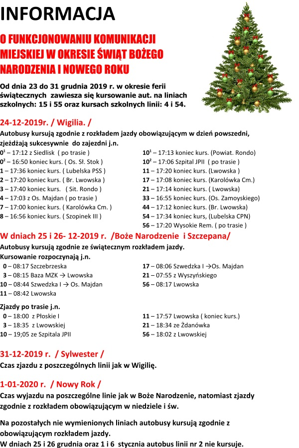 info sw 2019 12 Zamość: Świąteczny rozkład MZK
