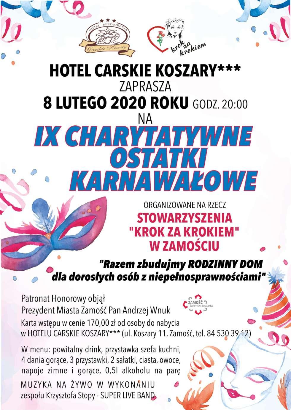 plakat ostatki 2020 luty Zamość: Charytatywne Ostatki Karnawałowe. Wspaniała zabawa i szczytny cel