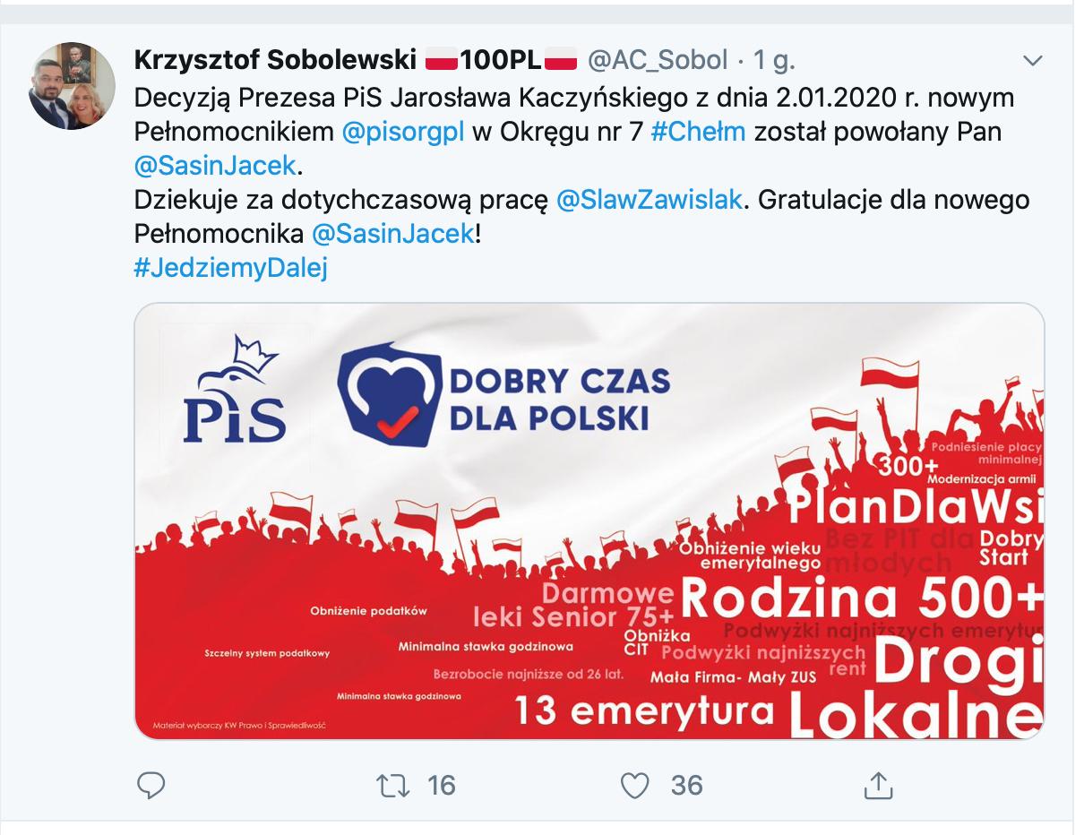 zrzut ekranu 2020 01 3 o 14 15 37 Jacek Sasin zastąpił Sławomira Zawiślaka - nowa decyzja Jarosława Kaczyńskiego