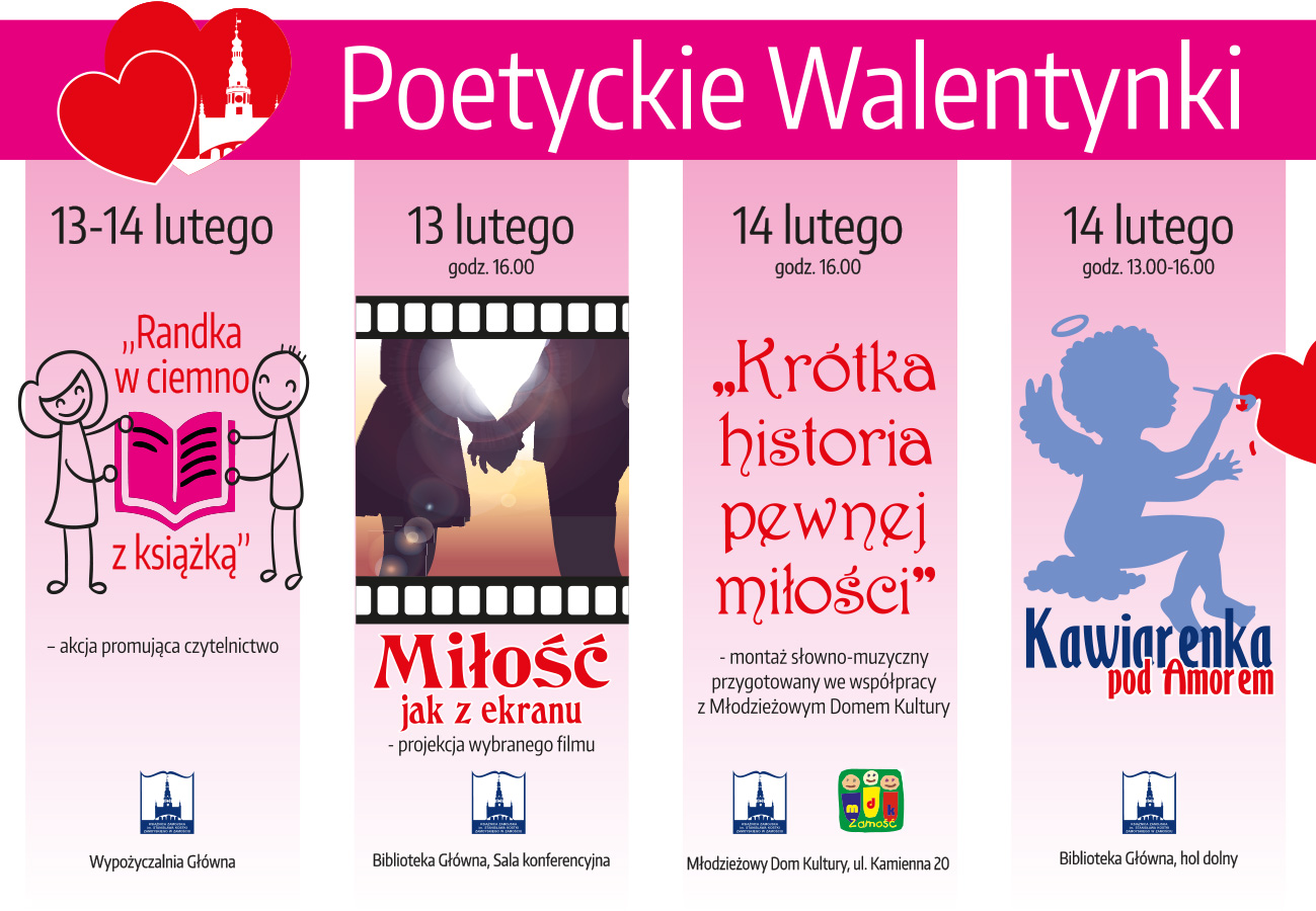 1 plakat wszystkie 03 Zamość: Walentynki w Książnicy. W programie m.in. projekcja filmu o miłości