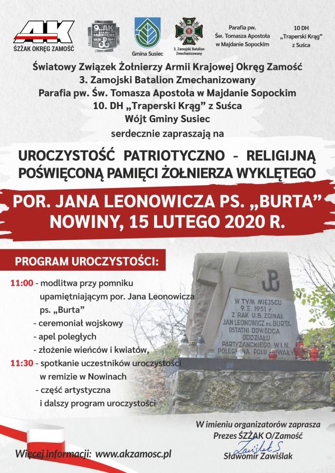 """burta nowiny 2020 plakat Uroczystość ku pamięci por. Jana Leonowicza ps. """"Burta"""