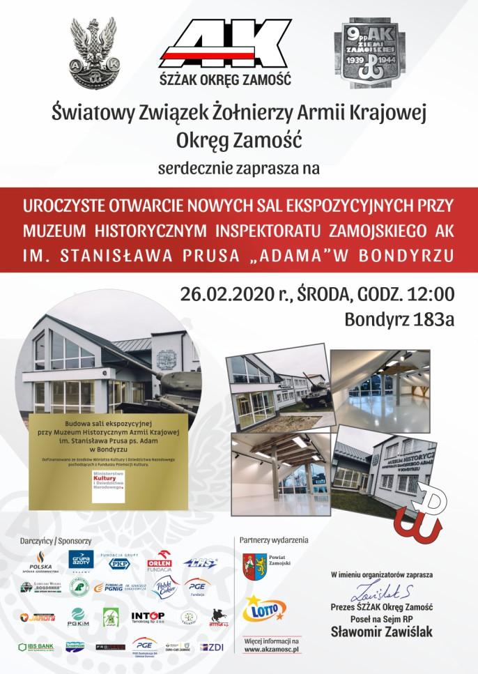 otwarcie sal muzeum plakat Zakończenie rozbudowy Muzeum w Bondyrzu